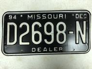 1994 MISSOURI Dealer License Plate D2698-N