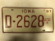 1987 IOWA Dealer License Plate D-2628