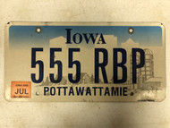 July 2006 Tag IOWA Pottawattamie County License Plate 555-RBP Farm Silo City Silhouette