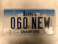 Expired IOWA Crawford County License Plate 060-NEW Farm Silo City Silhouette