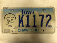 Expired IOWA Crawford County Love Our Kids License Plate K1172 Rainbow Farm Silo City Silhouette