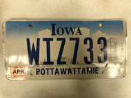 April 2006 Tag IOWA Pottawattamie County License Plate WIZ733 Wiz Farm Silo City Silhouette