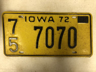 1972 IOWA Plymouth County License Plate 75-7070