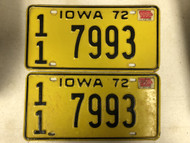 1972 (1974 Tag) IOWA Buena Vista County License Plate 11-7993 PAIR