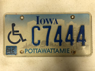 December 2004 Tag IOWA Pottawattamie County Handicapped Wheelchair License Plate C7444 Farm Silo City Silhouette