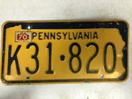 1970 Tag PENNSYLVANIA License Plate K31-820 Keystone