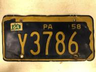1958 (1964 Tag) PENNSYLVANIA License Plate Y3786