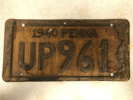 1940 PENNSYLVANIA PENNA License Plate UP961 Up