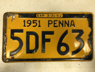 1951 Expiration 3-31-52 PENNSYLVANIA PENNA License Plate 5DF63