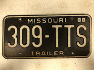 1988 MISSOURI Trailer License Plate 309-TTS