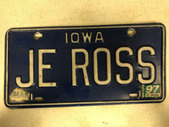 March 1997 Tag IOWA License Plate JE-ROSS