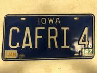 January 1997 Tag IOWA License Plate CAFRI-4