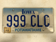 July 2007 Tag IOWA Pottawattamie County License Plate 999-CLC Farm Silo City Sihlouette