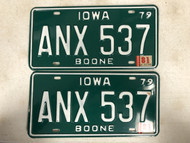 1979 (1981 Tag) IOWA Boone County License Plate ANX-537 PAIR
