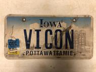 Expired (Multiple Tags) IOWA Pottawattamie County License Plate VICON Farm Silo City Silhouette