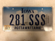 October 2007 Tag IOWA Pottawattamie County License Plate 281-SSS Cool # Farm Silo City Silhouette