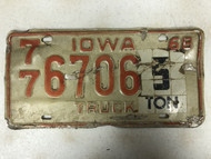 1968 IOWA Polk County 5 Ton Tag Truck License Plate 77-6706