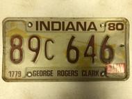 May Tag 1980 INDIANA Van Burens County 1779 George Rogers Clark License Plate 89c-646 Pioneers Frontier Fort