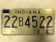 1976 INDIANA Clayton County License Plate 22B-4522