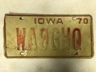 1970 IOWA License Plate WAØGHQ