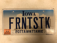 July Tag 2006 IOWA Pottawattamie County License Plate FRNTSTK Farm Silo City Silhouette