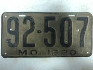 DMV Clear 1920 MISSOURI Passenger LLC License Plates YOM Clear 92-507 MO