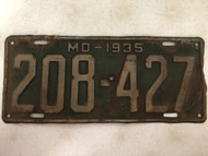 DMV Clear 1935 MISSOURI Passenger License Plate YOM Clear 208-427 MO