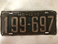 DMV Clear 1935 MISSOURI Passenger License Plate YOM Clear 199-697 MO
