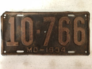 DMV Clear 1934 MISSOURI Passenger Shorty License Plate YOM Clear 10-766 MO