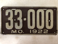 DMV Clear 1922 MISSOURI Passenger Shorty License Plate YOM Clear 33-000 MO