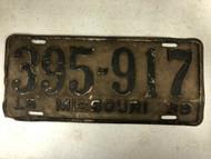 DMV Clear 1938 MISSOURI Passenger License Plate YOM Clear 395-917 MO