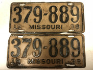 PAIR of DMV Clear 1938 MISSOURI Passenger License Plates YOM Clear 379-889 MO