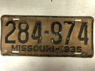 DMV Clear 1936 MISSOURI Passenger License Plate YOM Clear 284-974 MO