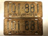 PAIR of DMV Clear 1936 MISSOURI Passenger License Plates YOM Clear 101-881 MO