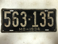 DMV Clear 1934 MISSOURI Passenger License Plate YOM Clear 563-135 MO