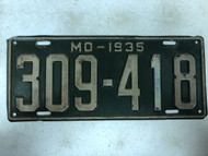 DMV Clear 1935 MISSOURI Passenger License Plate YOM Clear 309-418 MO
