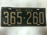 DMV Clear 1935 MISSOURI Passenger License Plate YOM Clear 365-260 MO