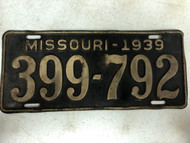 DMV Clear 1939 MISSOURI Passenger License Plate YOM Clear 399-792 MO