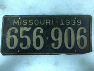 DMV Clear 1939 MISSOURI Passenger License Plate YOM Clear 656-906 MO