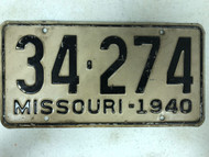 DMV Clear 1940 MISSOURI Passenger Shorty License Plate YOM Clear 34-274 MO