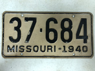 DMV Clear 1940 MISSOURI Passenger Shorty License Plate YOM Clear 37-684 MO