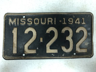 DMV Clear 1941 MISSOURI Passenger Shorty License Plate YOM Clear 12-232 MO