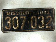 DMV Clear 1941 MISSOURI Passenger License Plate YOM Clear 307-032 MO