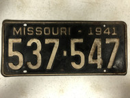 DMV Clear 1941 MISSOURI Passenger License Plate YOM Clear 537-547 MO