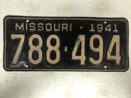 DMV Clear 1941 MISSOURI Passenger License Plate YOM Clear 788-494 MO