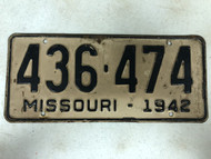DMV Clear 1942 MISSOURI Passenger License Plate YOM Clear 436-474 MO