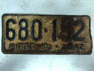 DMV Clear 1942 MISSOURI Passenger License Plate YOM Clear 680-192 MO