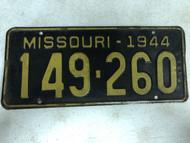 DMV Clear 1944 MISSOURI Passenger License Plate YOM Clear 149-260 MO