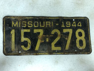 DMV Clear 1944 MISSOURI Passenger License Plate YOM Clear 157-278 MO
