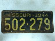 DMV Clear 1944 MISSOURI Passenger License Plate YOM Clear 502-279 MO
